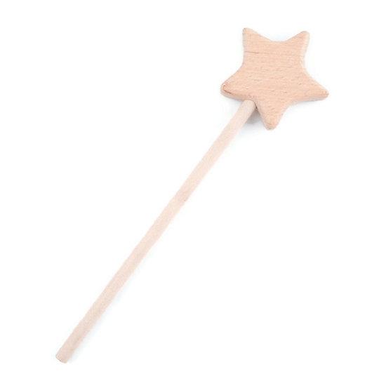 Baguette magique étoile en bois de hêtre 17,5cm