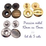 5 sets de bouton pression 10 ou 15mm