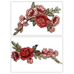 Grand appliqué fleurs rose/rouge/vert - 2 modèles au choix