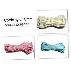 Corde nylon 5mm phosphorescente - 3 coloris au choix