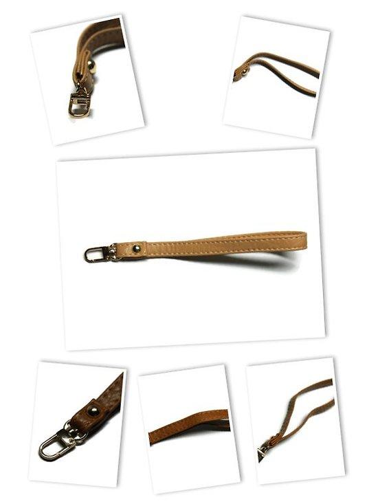 Dragonne en simili cuir et mousqueton doré - 19 cm