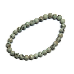 5 perles de japse dalmatien blanc/vert 6mm