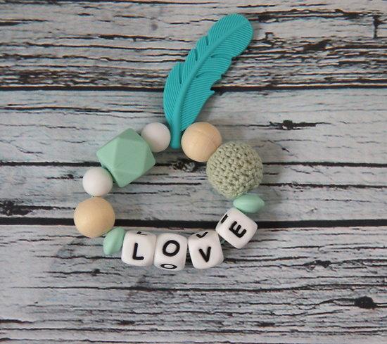 """Anneau de dentition mixte en bois et silicone """"LOVE"""""""