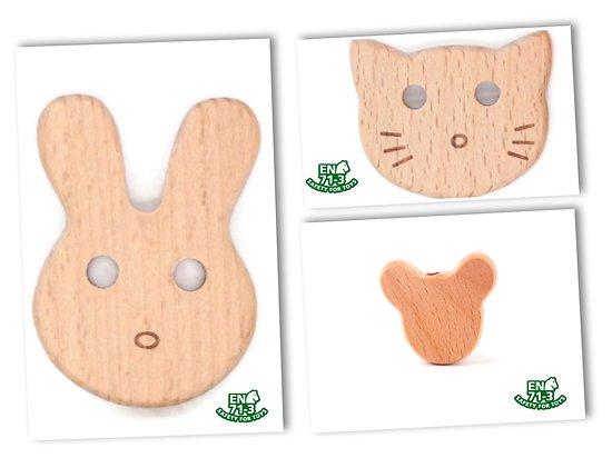 Perle tête d'animal en bois naturel sans solvant