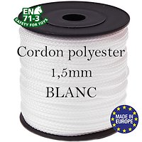 Fil / Cordon / Cordelette polyester pour attache-tétine 1,5mm - BLANC