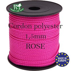 Fil / Cordon / Cordelette polyester pour attache-tétine 1,5mm - ROSE