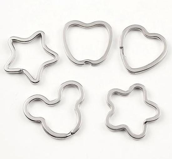 Anneau de porte-clef en métal argenté - 5 formes - anneau brisé en acier inoxydable
