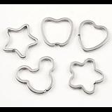 Anneau de porte-clé en métal argenté - 6 formes - anneau brisé en acier inoxydable
