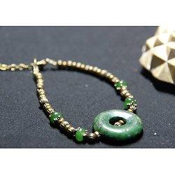 Bracelet bronze et pierres de jaspe verte **Terre des Indes**