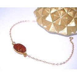 Bracelet or et agate druzy rose et dorée en résine