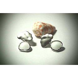 Boucles d'oreille nuage **La tête sur mon nuage** en plaqué argent et cristal blanc, boucles d'oreille percées
