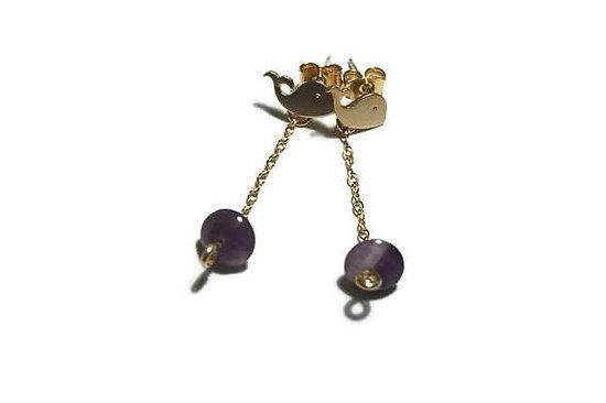 Boucles d'oreille précieuses **Baleine sur son rocher violet**, boucles d'oreille or et pierre semi-précieuse
