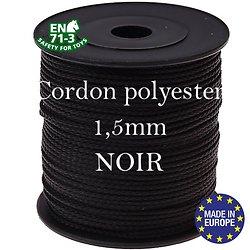 Fil / Cordon / Cordelette polyester pour attache-tétine 1,5mm - NOIR
