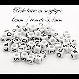 Perle lettre / alphabet en acrylique 6mm