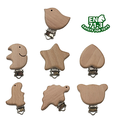 Clip / pince pour attache-tétine en bois naturel - animal ou forme