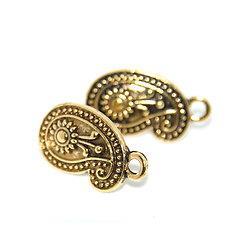 2 clous d'oreille ethnique paisley - simple connexion en métal doré antique 22x13mm