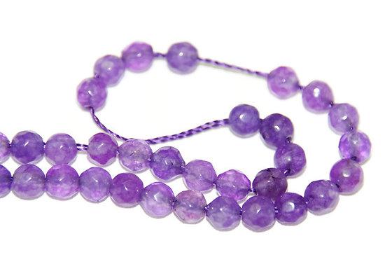 10 perles de jade à facettes teintées violet clair 4mm