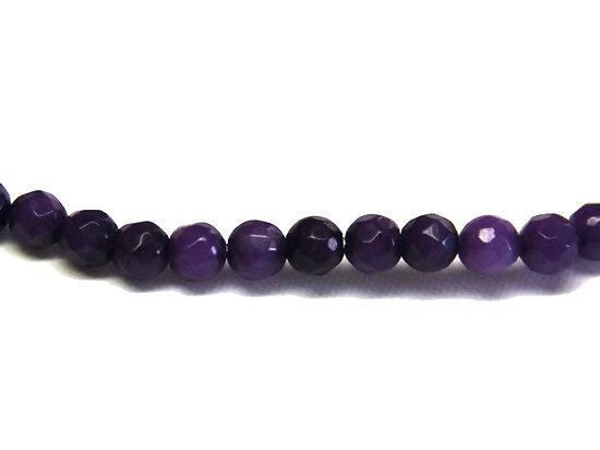 12 perles de jades à facettes teintées violet 4mm