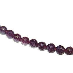 5 perles de jade à facettes teintées prune 8mm
