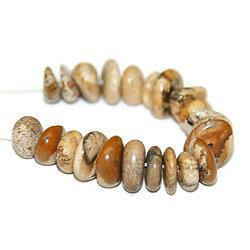 5 perles rondelles irrégulières de jaspe brun marbré 8/10mm