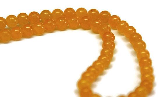 6 perles de jade rondes jaunes 7mm