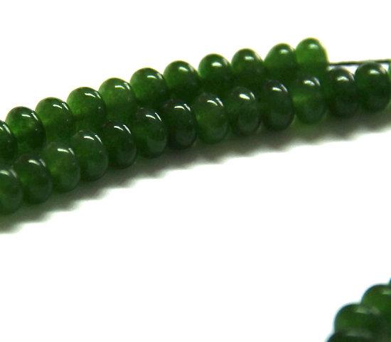 6 perles rondelles de jade teintées vertes 6.5x4mm