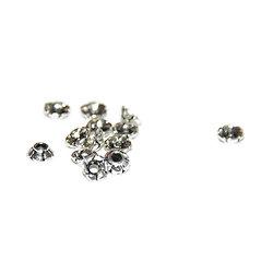 20 mini coupelles fleur en métal argenté 3.5mm