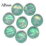 2 cabochons ronds effet opale vert en résine haute qualité 12mm