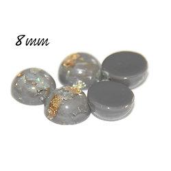 2 cabochons ronds effet opale gris en résine haute qualité 8mm