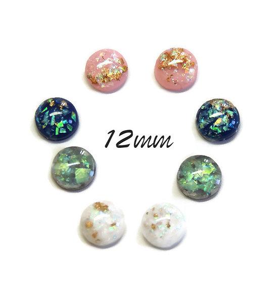 2 cabochons ronds effet opale en résine haute qualité 12mm - 4 couleurs au choix