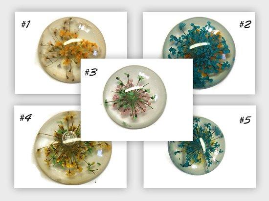 Grand cabochon rond en résine et inclusions de fleurs séchées 25mm - 5 modèles au choix!