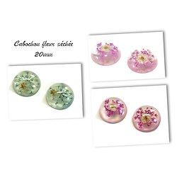 2 cabochons en résine et inclusion de fleur séchée 20mm - 3 couleurs