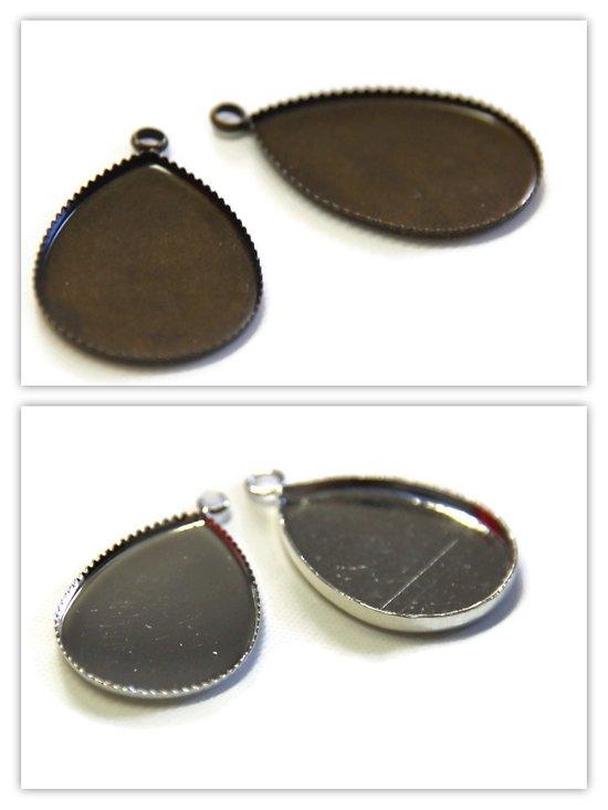 2 supports de pendentif pour cabochon goutte en métal - 2 finitions - 18x25mm
