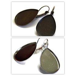2 supports de boucles d'oreille pour cabochon goutte en métal - 2 finitions - 18x25mm