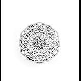 Breloque / connecteur aux arabesques en métal argenté vieilli 31mm