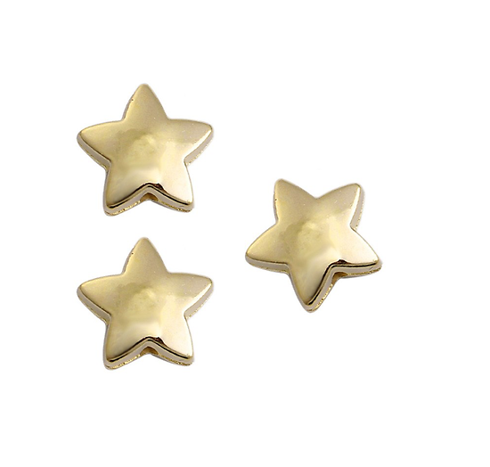 5 perles étoiles bombées en acrylique dorées 14mm