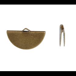 Embout pour ruban / cordon / pompon à encoller en métal couleur bronze 28x15mm