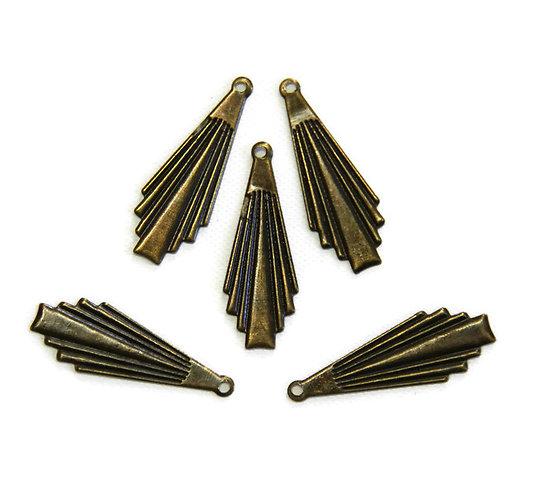 5 breloques éventail style rétro en métal couleur bronze 8x23mm