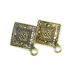 2 clous d'oreille ethnique losange - simple connexion en métal doré antique 23x19mm