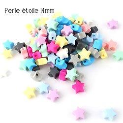 Mini perle étoile en silicone alimentaire sans BPA 14mm