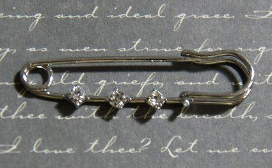 Broche à strass en métal argenté 15x51mm