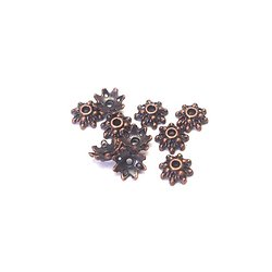 10 coupelles fleur en métal couleur cuivre 8mm