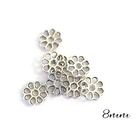 10 coupelles fleurs ajourées en métal argenté 8mm