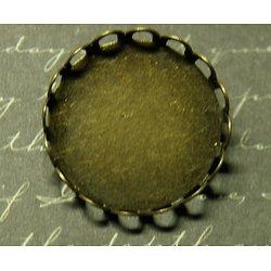 Broche ronde à dentelle en métal couleur bronze 25mm