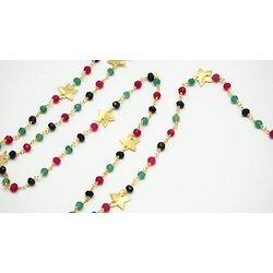 20cm de chaîne façon rosaire en pierres de gemme, connecteurs étoiles et fil d'or 24K