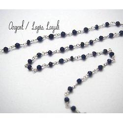 20cm de chaîne façon rosaire en perles de pierres de gemme et argent 925/1000