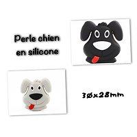 Perle tête de chiot / chien en silicone alimentaire sans BPA 30x28mm