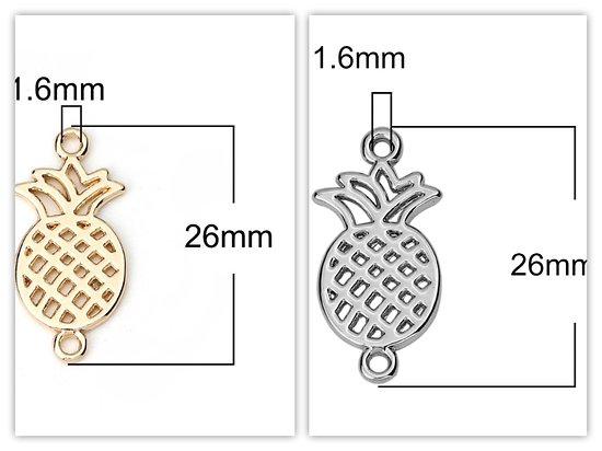 2 connecteurs ananas en métal 26x13mm
