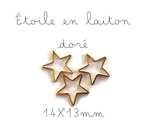 4 breloques étoile fine en laiton doré 14x13mm