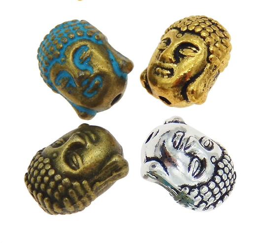 2 perles massives tête de Bouddha en métal 8x9x11mm